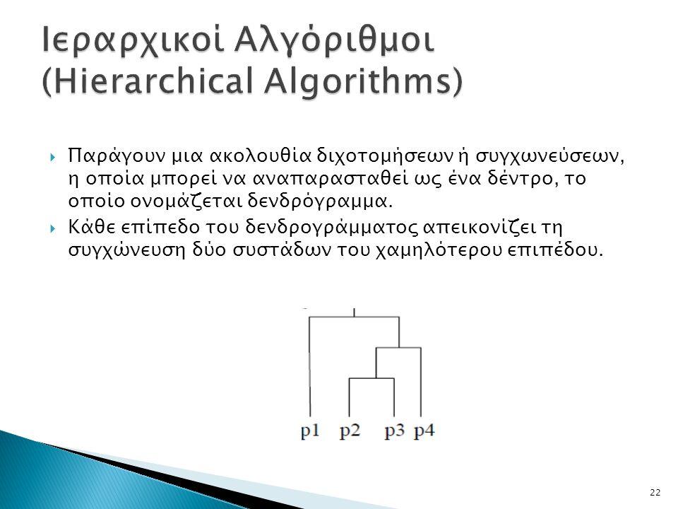  Παράγουν μια ακολουθία διχοτομήσεων ή συγχωνεύσεων, η οποία μπορεί να αναπαρασταθεί ως ένα δέντρο, το οποίο ονομάζεται δενδρόγραμμα.