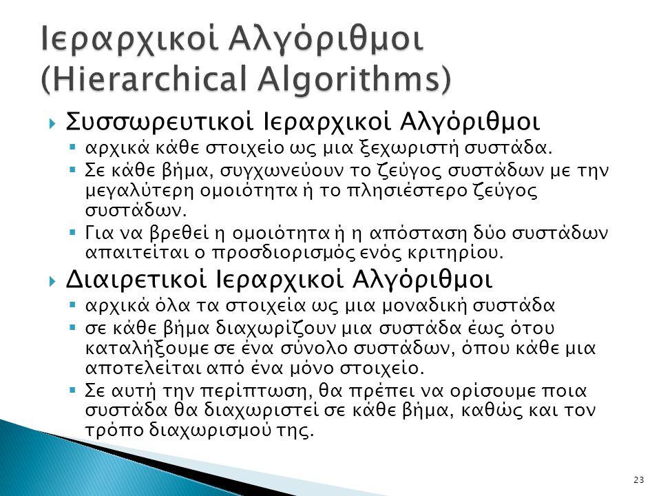  Συσσωρευτικοί Ιεραρχικοί Αλγόριθμοι  αρχικά κάθε στοιχείο ως μια ξεχωριστή συστάδα.