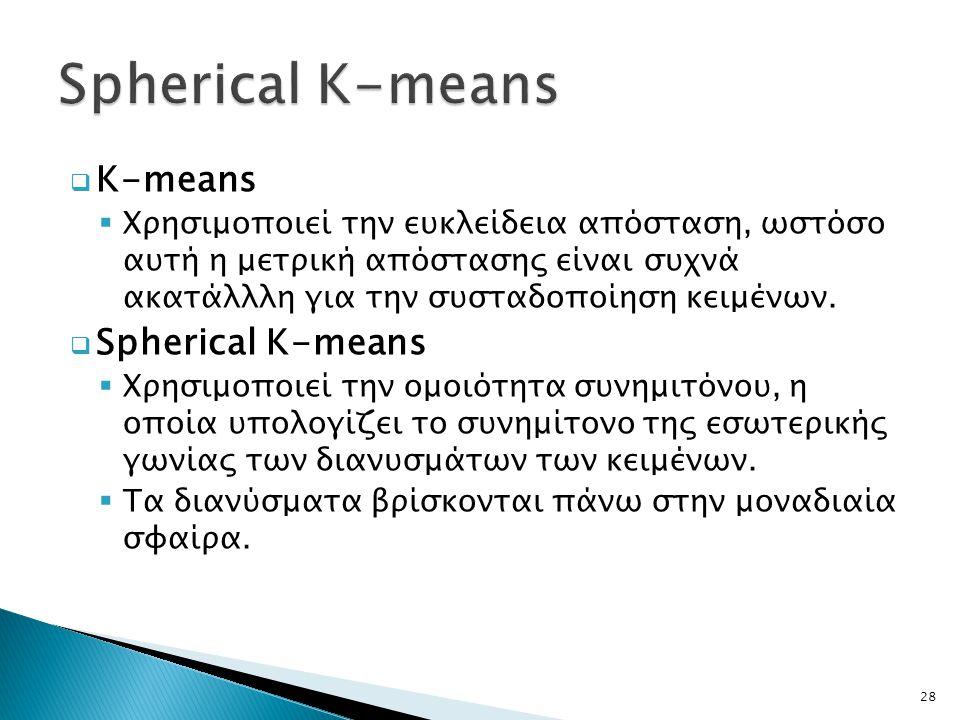 K-means  Χρησιμοποιεί την ευκλείδεια απόσταση, ωστόσο αυτή η μετρική απόστασης είναι συχνά ακατάλλλη για την συσταδοποίηση κειμένων.