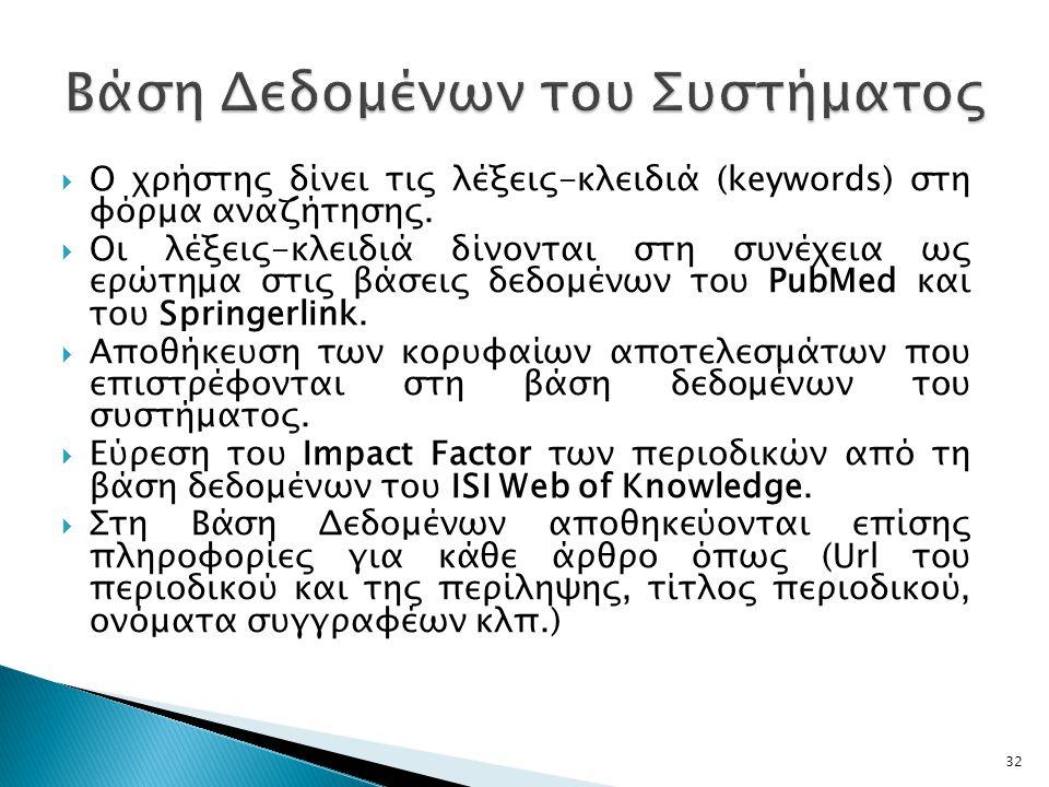  Ο χρήστης δίνει τις λέξεις-κλειδιά (keywords) στη φόρμα αναζήτησης.
