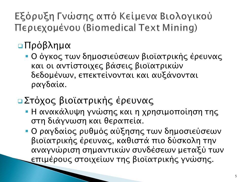  Εξόρυξη κειμένου (Text Mining)  Τομέας της επιστήμης των υπολογιστών που μπορεί να βοηθήσει τους ερευνητές στην αντιμετώπιση της πληθώρας πληροφοριών.