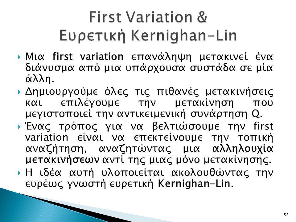  Μια first variation επανάληψη μετακινεί ένα διάνυσμα από μια υπάρχουσα συστάδα σε μία άλλη.
