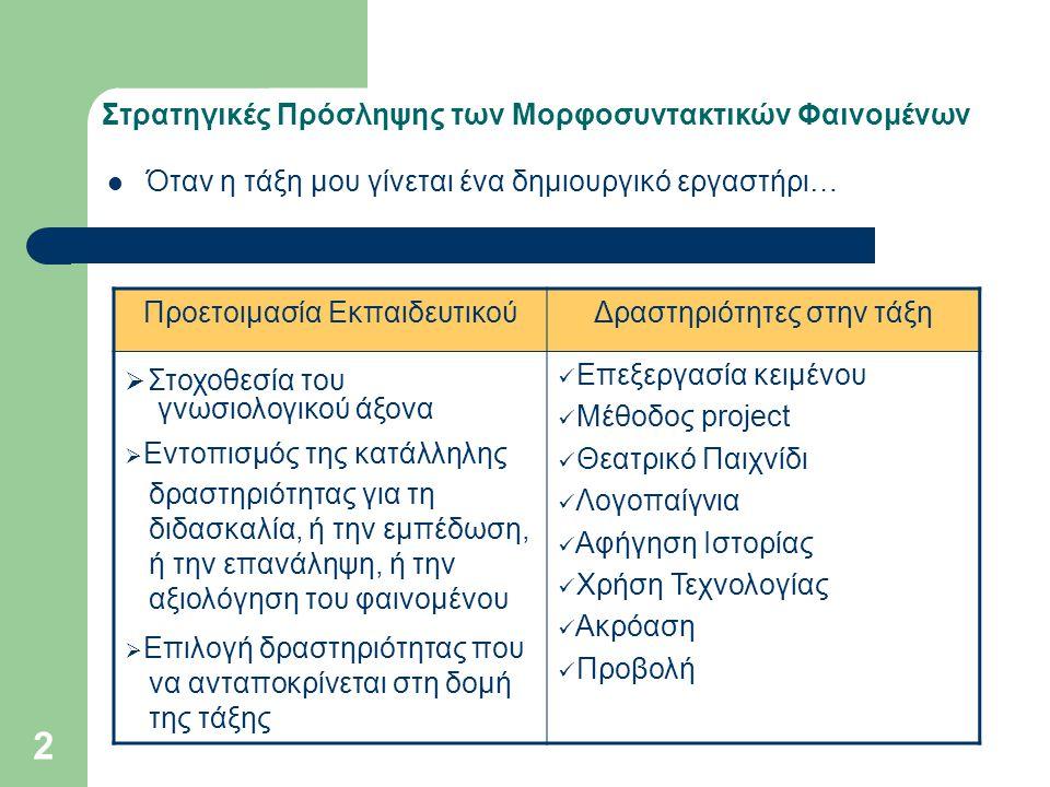 Στρατηγικές Πρόσληψης των Μορφοσυντακτικών Φαινομένων Επεξεργασία Κειμένου Γνωσιολογικός Στόχος Β΄ τάξη: 5 η Ενότητα (Συζητώντας για την εργασία και το επάγγελμα) → Βαθμοί επιθέτων και επιρρημάτων.