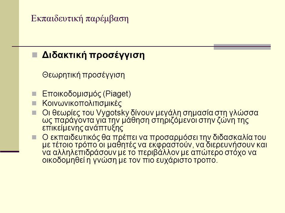 Εκπαιδευτική παρέμβαση Διδακτική προσέγγιση Θεωρητική προσέγγιση Εποικοδομισμός (Piaget) Κοινωνικοπολιτισμικές Οι θεωρίες του Vygotsky δίνουν μεγάλη σ