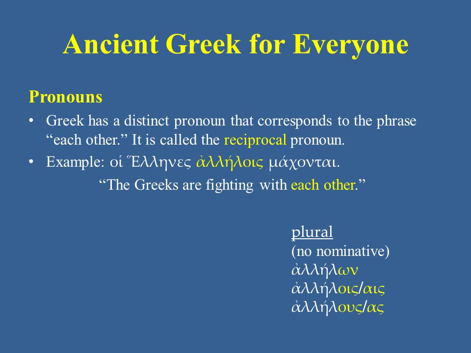 Ancient Greek for Everyone Pronouns In Unit 5, you learned the demonstrative pronouns ἐκεῖνος ἐκείνη ἐκεῖνο (that/those) and ὅδε ἥδε τόδε (this/these).