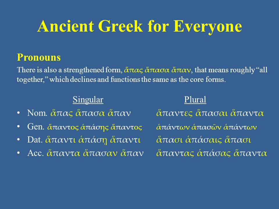 Ancient Greek for Everyone Pronouns The word for one can function as a pronoun or an adjective.