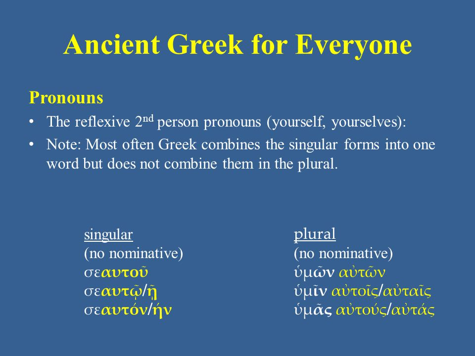 Ancient Greek for Everyone Pronouns The reflexive 3 rd person pronouns (himself, herself, itself, themselves): Note: Greek uses the archaic 3 rd person pronoun ἑ as the first unit here.