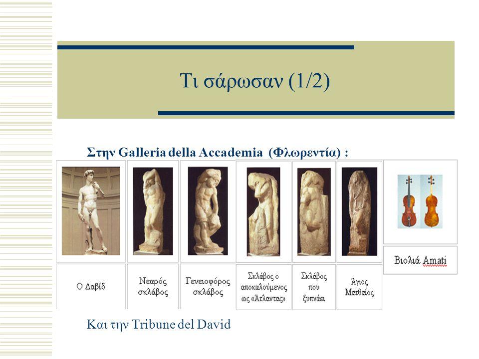 Τι σάρωσαν (1/2) Στην Galleria della Accademia (Φλωρεντία) : Και την Tribune del David