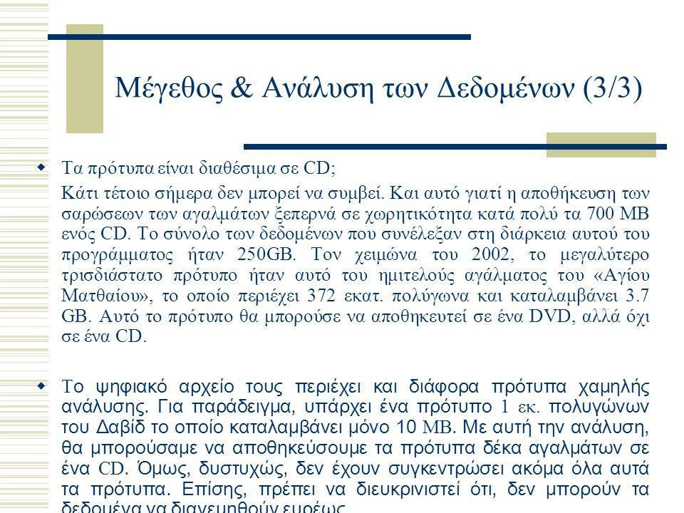 Μέγεθος & Ανάλυση των Δεδομένων (3/3)  Τα πρότυπα είναι διαθέσιμα σε CD; Κάτι τέτοιο σήμερα δεν μπορεί να συμβεί. Και αυτό γιατί η αποθήκευση των σαρ