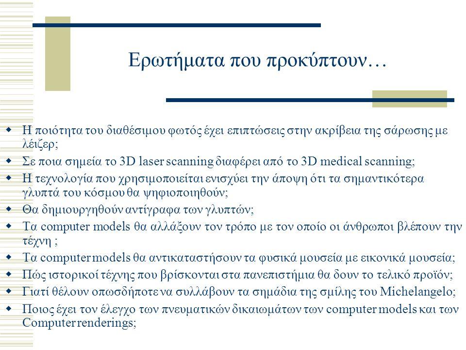 Ερωτήματα που προκύπτουν…  Η ποιότητα του διαθέσιμου φωτός έχει επιπτώσεις στην ακρίβεια της σάρωσης με λέιζερ;  Σε ποια σημεία το 3D laser scanning
