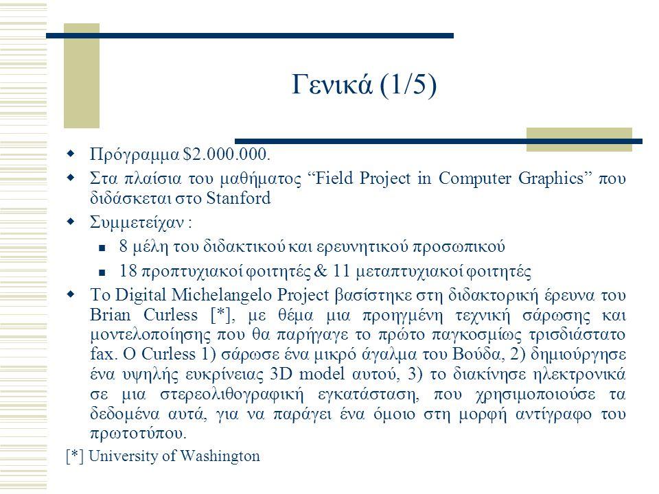 """Γενικά (1/5)  Πρόγραμμα $2.000.000.  Στα πλαίσια του μαθήματος """"Field Project in Computer Graphics"""" που διδάσκεται στο Stanford  Συμμετείχαν : 8 μέ"""