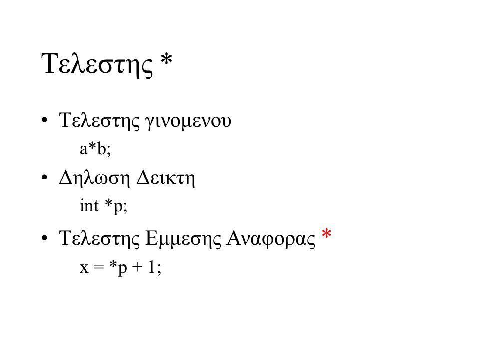 Τελεστης * Τελεστης γινομενου a*b; Δηλωση Δεικτη int *p; Τελεστης Εμμεσης Αναφορας * x = *p + 1;