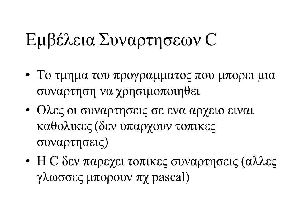 Εμβέλεια Συναρτησεων C Το τμημα του προγραμματος που μπορει μια συναρτηση να χρησιμοποιηθει Oλες οι συναρτησεις σε ενα αρχειο ειναι καθολικες (δεν υπαρχουν τοπικες συναρτησεις) Η C δεν παρεχει τοπικες συναρτησεις (αλλες γλωσσες μπορουν πχ pascal)