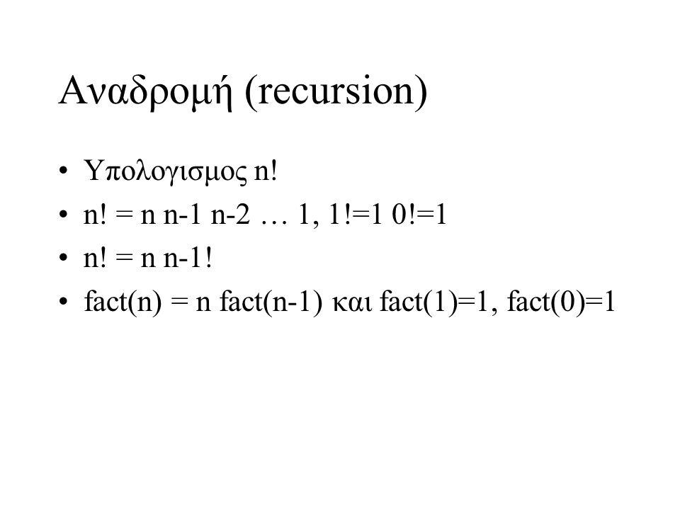 Αναδρομή (recursion) Υπολογισμος n.n. = n n-1 n-2 … 1, 1!=1 0!=1 n.