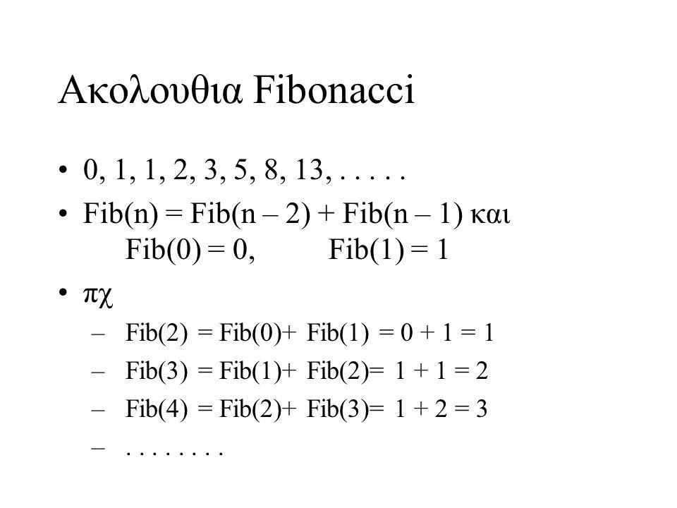 Ακολουθια Fibonacci 0, 1, 1, 2, 3, 5, 8, 13,.....