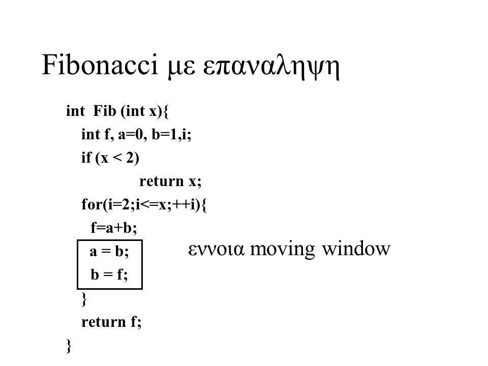 Fibonacci με επαναληψη int Fib (int x){ int f, a=0, b=1,i; if (x < 2) return x; for(i=2;i<=x;++i){ f=a+b; a = b; b = f; } return f; } εννοια moving window