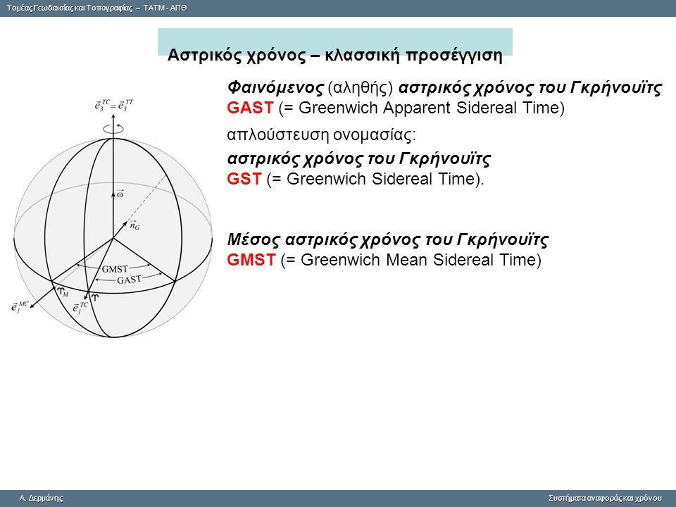 Tομέας Γεωδαισίας και Τοπογραφίας – ΤΑΤΜ - ΑΠΘ A. ΔερμάνηςΣυστήματα αναφοράς και χρόνου A.