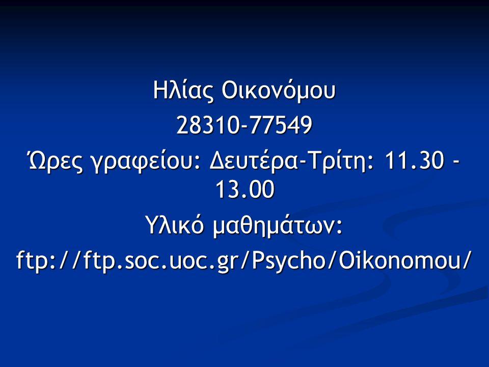 Ηλίας Οικονόμου 28310-77549 Ώρες γραφείου: Δευτέρα-Τρίτη: 11.30 - 13.00 Υλικό μαθημάτων: ftp://ftp.soc.uoc.gr/Psycho/Oikonomou/
