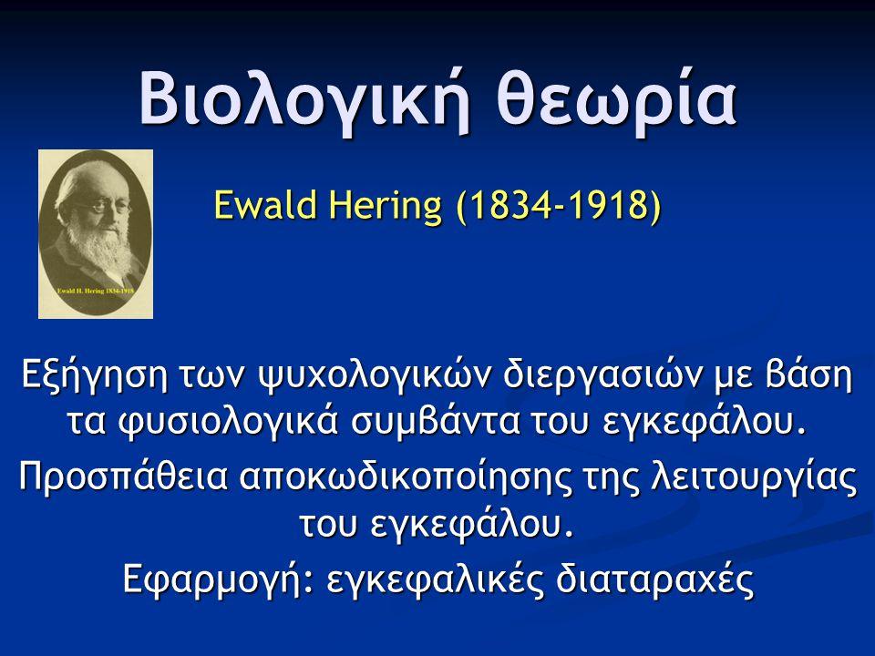 Βιολογική θεωρία Ewald Hering (1834-1918) Εξήγηση των ψυχολογικών διεργασιών με βάση τα φυσιολογικά συμβάντα του εγκεφάλου. Προσπάθεια αποκωδικοποίηση