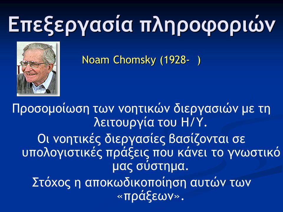 Επεξεργασία πληροφοριών Noam Chomsky (1928- ) Προσομοίωση των νοητικών διεργασιών με τη λειτουργία του Η/Υ. Οι νοητικές διεργασίες βασίζονται σε υπολο
