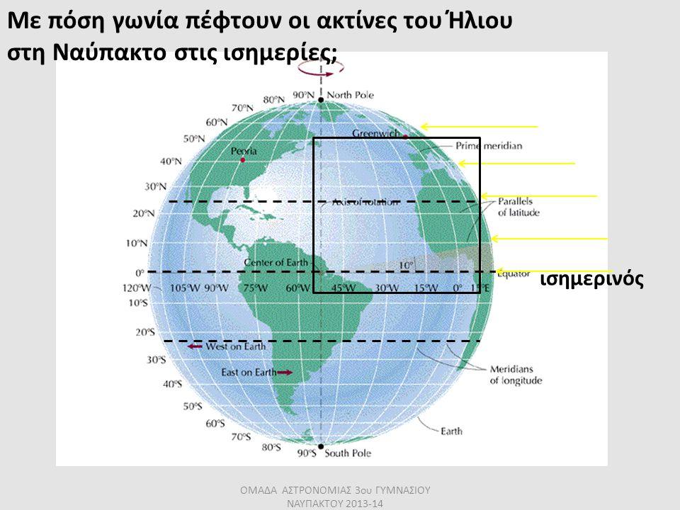 ισημερινός Με πόση γωνία πέφτουν οι ακτίνες του Ήλιου στη Ναύπακτο στις ισημερίες; ΟΜΑΔΑ ΑΣΤΡΟΝΟΜΙΑΣ 3ου ΓΥΜΝΑΣΙΟΥ ΝΑΥΠΑΚΤΟΥ 2013-14