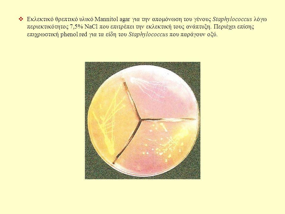  Εκλεκτικό θρεπτικό υλικό Mannitol agar για την απομόνωση του γένους Staphylococcus λόγω περιεκτικότητος 7,5% NaCl που επιτρέπει την εκλεκτική τους ανάπτυξη.