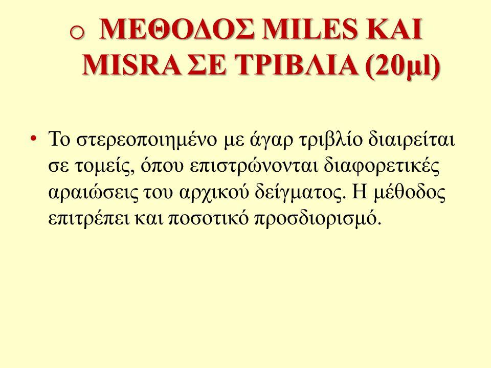 o ΜΕΘΟΔΟΣ MILES ΚΑΙ MISRA ΣΕ ΤΡΙΒΛΙΑ (20μl) Το στερεοποιημένο με άγαρ τριβλίο διαιρείται σε τομείς, όπου επιστρώνονται διαφορετικές αραιώσεις του αρχικού δείγματος.
