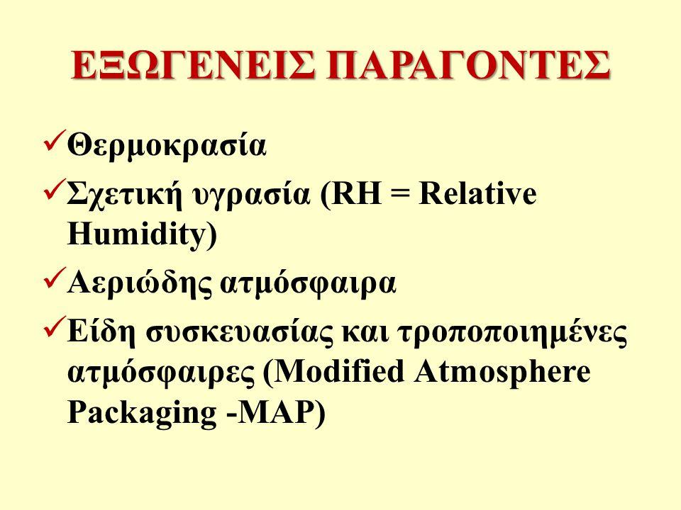 ΕΞΩΓΕΝΕΙΣ ΠΑΡΑΓΟΝΤΕΣ Θερμοκρασία Σχετική υγρασία (RH = Relative Humidity) Αεριώδης ατμόσφαιρα Είδη συσκευασίας και τροποποιημένες ατμόσφαιρες (Modified Atmosphere Packaging -MAP)