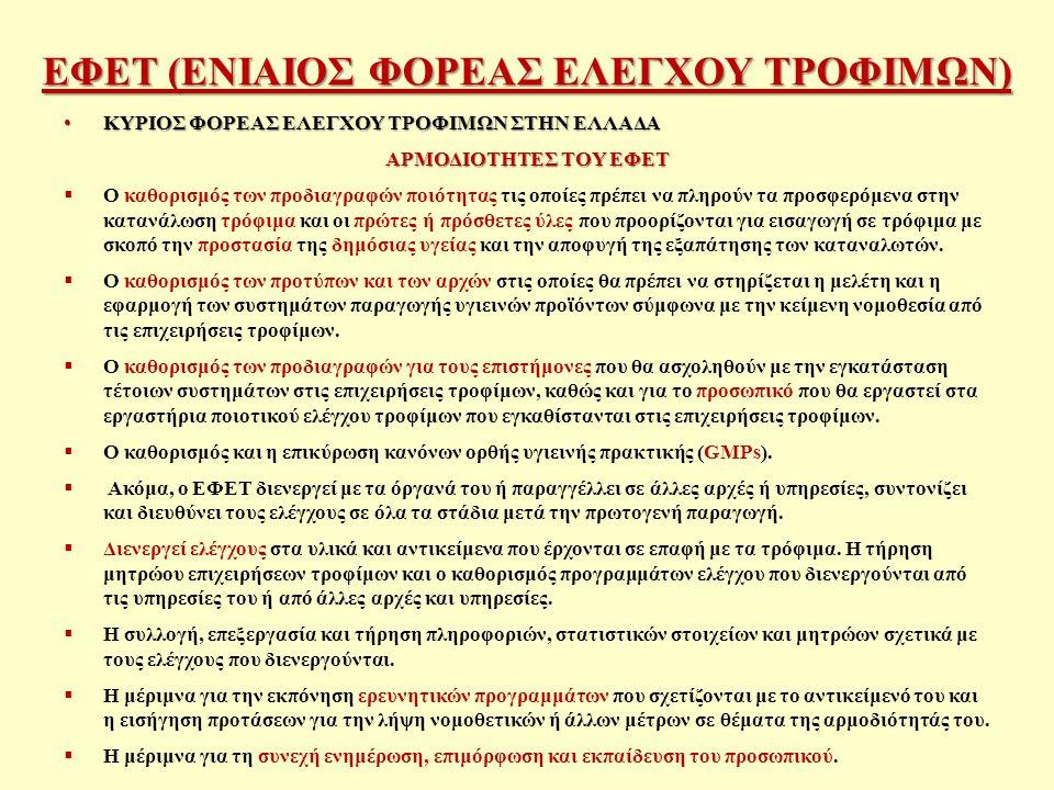 ΕΦΕΤ (ΕΝΙΑΙΟΣ ΦΟΡΕΑΣ ΕΛΕΓΧΟΥ ΤΡΟΦΙΜΩΝ) ΚΥΡΙΟΣ ΦΟΡΕΑΣ ΕΛΕΓΧΟΥ ΤΡΟΦΙΜΩΝ ΣΤΗΝ ΕΛΛΑΔΑ ΚΥΡΙΟΣ ΦΟΡΕΑΣ ΕΛΕΓΧΟΥ ΤΡΟΦΙΜΩΝ ΣΤΗΝ ΕΛΛΑΔΑ ΑΡΜΟΔΙΟΤΗΤΕΣ ΤΟΥ ΕΦΕΤ  Ο καθορισμός των προδιαγραφών ποιότητας τις οποίες πρέπει να πληρούν τα προσφερόμενα στην κατανάλωση τρόφιμα και οι πρώτες ή πρόσθετες ύλες που προορίζονται για εισαγωγή σε τρόφιμα με σκοπό την προστασία της δημόσιας υγείας και την αποφυγή της εξαπάτησης των καταναλωτών.