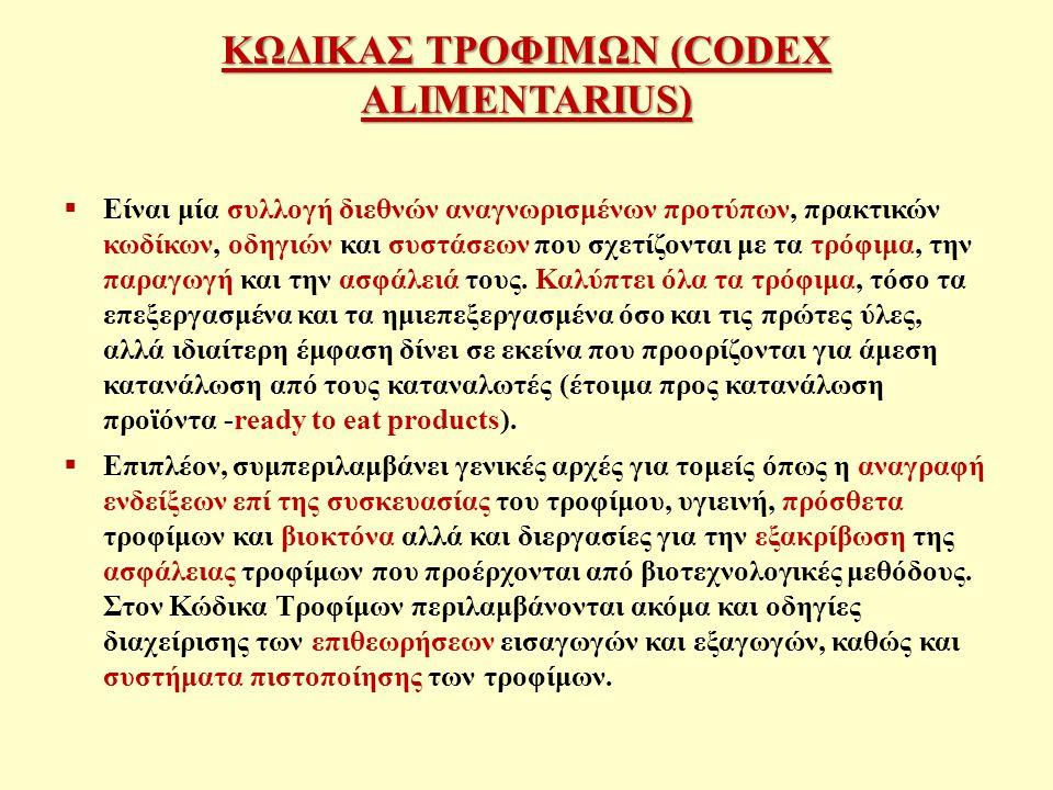 ΚΩΔΙΚΑΣ ΤΡΟΦΙΜΩΝ (CODEX ALIMENTARIUS)  Είναι μία συλλογή διεθνών αναγνωρισμένων προτύπων, πρακτικών κωδίκων, οδηγιών και συστάσεων που σχετίζονται με τα τρόφιμα, την παραγωγή και την ασφάλειά τους.