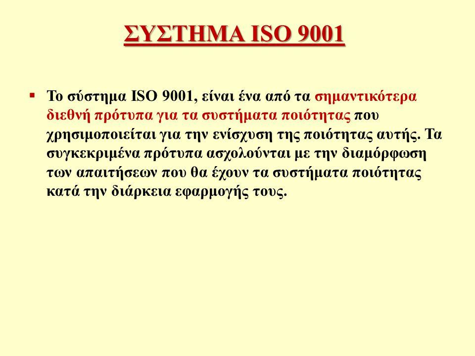 ΣΥΣΤΗΜΑ ISO 9001  Το σύστημα ISO 9001, είναι ένα από τα σημαντικότερα διεθνή πρότυπα για τα συστήματα ποιότητας που χρησιμοποιείται για την ενίσχυση της ποιότητας αυτής.