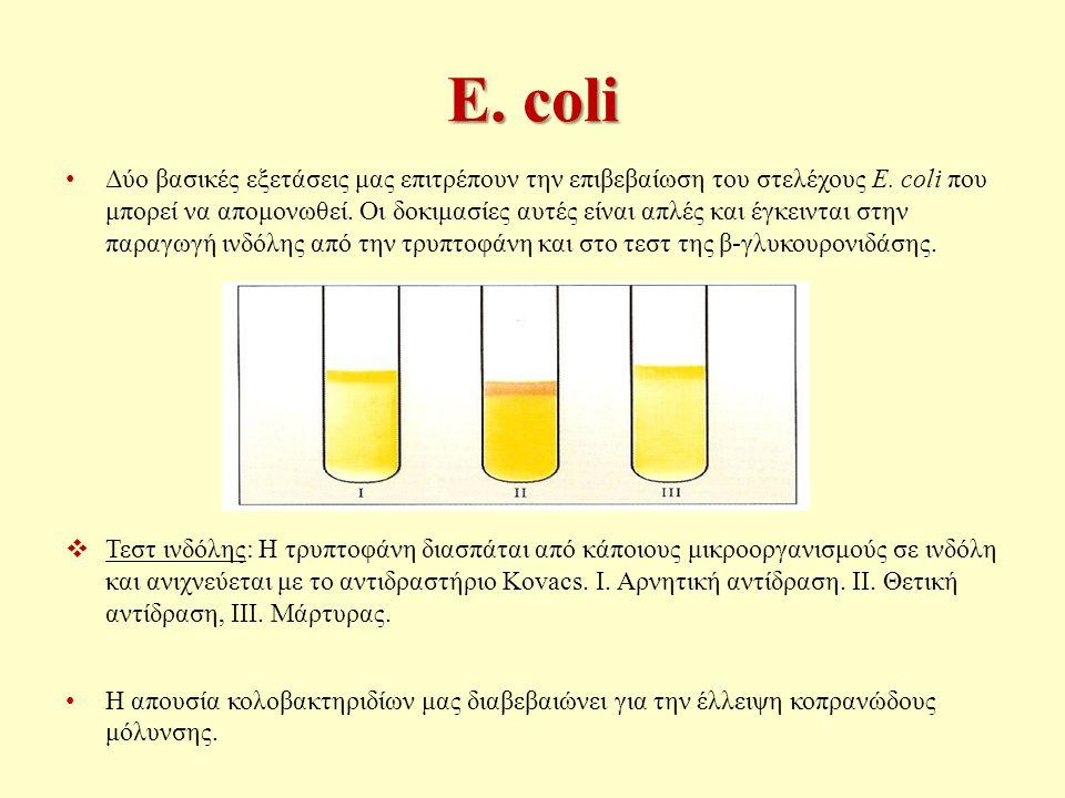 E.coli Δύο βασικές εξετάσεις μας επιτρέπουν την επιβεβαίωση του στελέχους E.