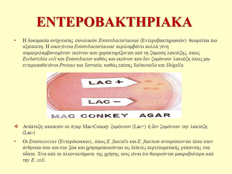 ΕΝΤΕΡΟΒΑΚΤΗΡΙΑΚΑ Η δοκιμασία ανίχνευσης συνολικών Enterobacteriaceae (Εντεροβακτηριακών) θεωρείται πιο αξιόπιστη.
