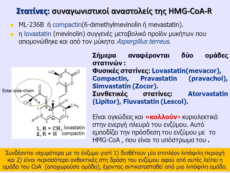 Στατίνες: συναγωνιστικoί αναστολείς της HMG-CoA-R ML-236B ή compactin(6-dιmethylmevinolin ή mevastatin). η lovastatin (mevinolin) συγγενές μεταβολικό