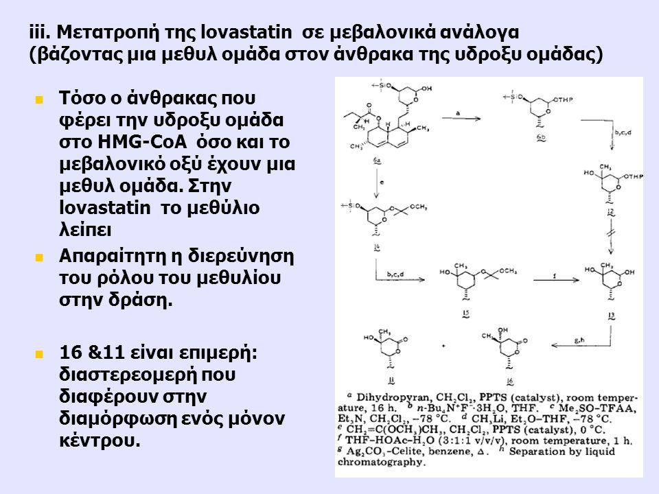Τόσο ο άνθρακας που φέρει την υδροξυ ομάδα στο HMG-CoA όσο και το μεβαλονικό οξύ έχουν μια μεθυλ ομάδα. Στην lovastatin το μεθύλιο λείπει Απαραίτητη η