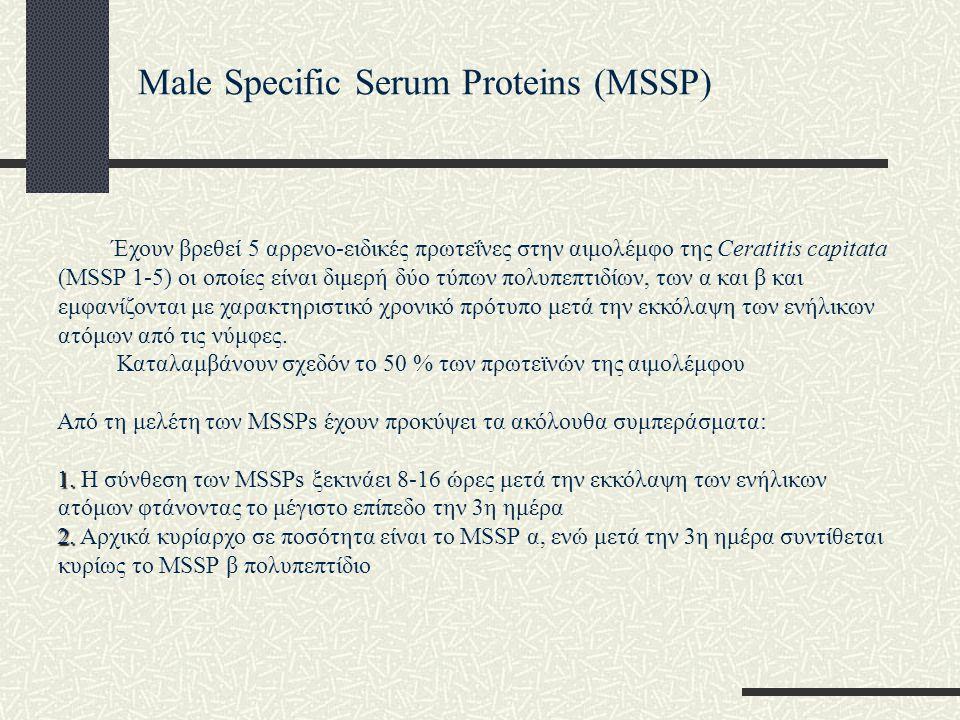 Male Specific Serum Proteins (MSSP) Έχουν βρεθεί 5 αρρενο-ειδικές πρωτεΐνες στην αιμολέμφο της Ceratitis capitata (MSSP 1-5) οι οποίες είναι διμερή δύ