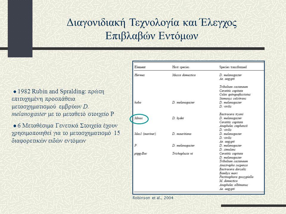 Ισχυρά φαινόμενα θέσης Διαφορετικοί φαινότυποι Κατασκευή των γενετικά μετασχηματισμένων σειρών της Μεσογειακής μύγας