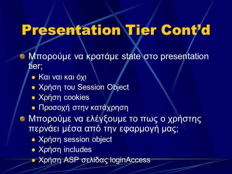 Presentation Tier Cont'd Μπορούμε να κρατάμε state στο presentation tier; Και ναι και όχι Χρήση του Session Object Χρήση cookies Προσοχή στην κατάχρησ