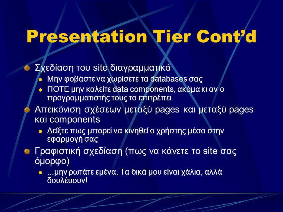 Presentation Tier Cont'd Σχεδίαση του site διαγραμματικά Μην φοβάστε να χωρίσετε τα databases σας ΠΟΤΕ μην καλείτε data components, ακόμα κι αν ο προγ