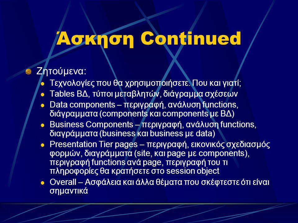 Άσκηση Continued Ζητούμενα: Τεχνολογίες που θα χρησιμοποιήσετε. Που και γιατί; Tables ΒΔ, τύποι μεταβλητών, διάγραμμα σχέσεων Data components – περιγρ