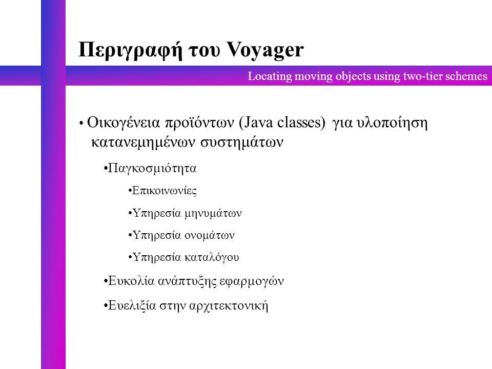 Locating moving objects using two-tier schemes Περιγραφή του Voyager Οικογένεια προϊόντων (Java classes) για υλοποίηση κατανεμημένων συστημάτων Παγκοσμιότητα Επικοινωνίες Υπηρεσία μηνυμάτων Υπηρεσία ονομάτων Υπηρεσία καταλόγου Ευκολία ανάπτυξης εφαρμογών Ευελιξία στην αρχιτεκτονική