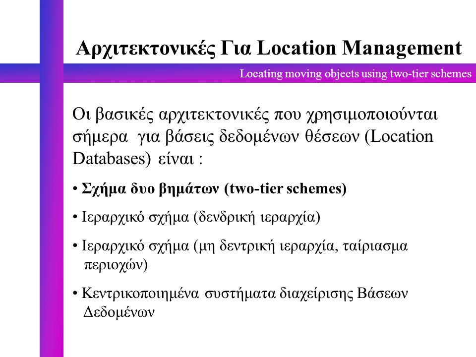 Locating moving objects using two-tier schemes Αρχιτεκτονικές Για Location Management Οι βασικές αρχιτεκτονικές που χρησιμοποιούνται σήμερα για βάσεις δεδομένων θέσεων (Location Databases) είναι : Σχήμα δυο βημάτων (two-tier schemes) Ιεραρχικό σχήμα (δενδρική ιεραρχία) Ιεραρχικό σχήμα (μη δεντρική ιεραρχία, ταίριασμα περιοχών) Κεντρικοποιημένα συστήματα διαχείρισης Βάσεων Δεδομένων