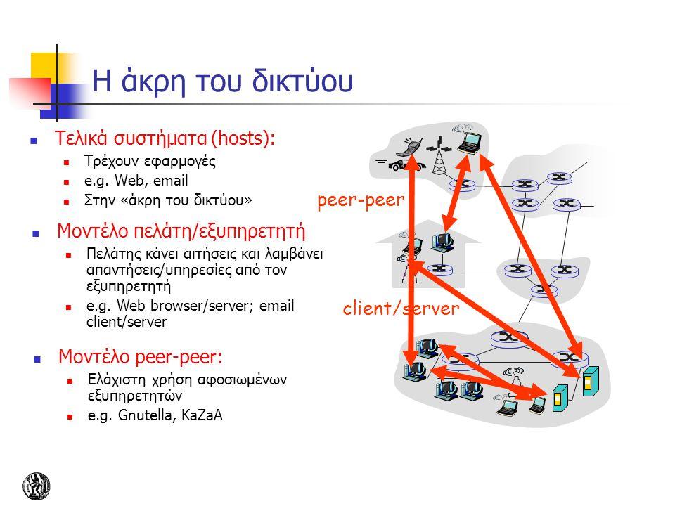 Η άκρη του δικτύου Τελικά συστήματα (hosts): Τρέχουν εφαρμογές e.g. Web, email Στην «άκρη του δικτύου» client/server peer-peer Μοντέλο πελάτη/εξυπηρετ