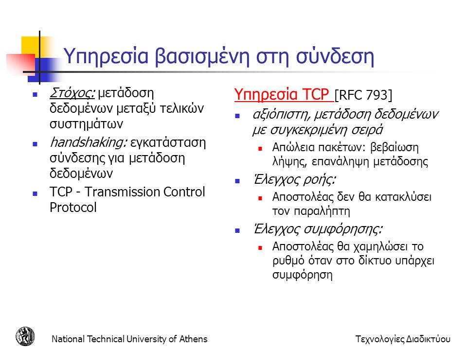 National Technical University of AthensΤεχνολογίες Διαδικτύου Υπηρεσία βασισμένη στη σύνδεση Στόχος: μετάδοση δεδομένων μεταξύ τελικών συστημάτων hand