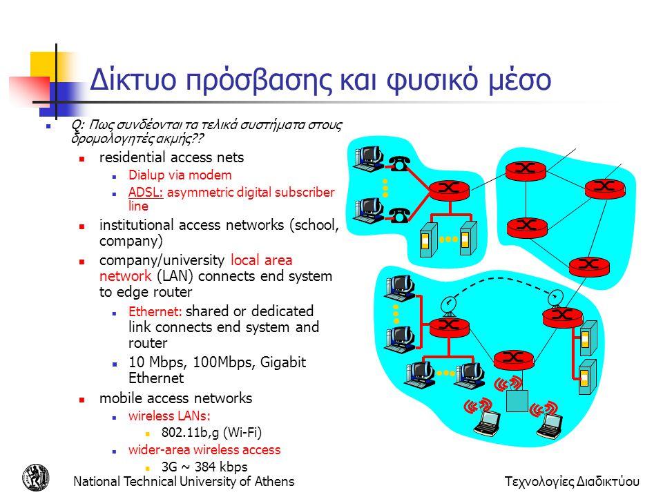 National Technical University of AthensΤεχνολογίες Διαδικτύου Δίκτυο πρόσβασης και φυσικό μέσο Q: Πως συνδέονται τα τελικά συστήματα στους δρομολογητέ
