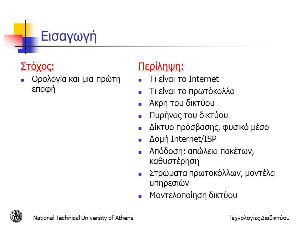 National Technical University of AthensΤεχνολογίες Διαδικτύου Εισαγωγή Στόχος: Ορολογία και μια πρώτη επαφή Περίληψη: Τι είναι το Internet Τι είναι το