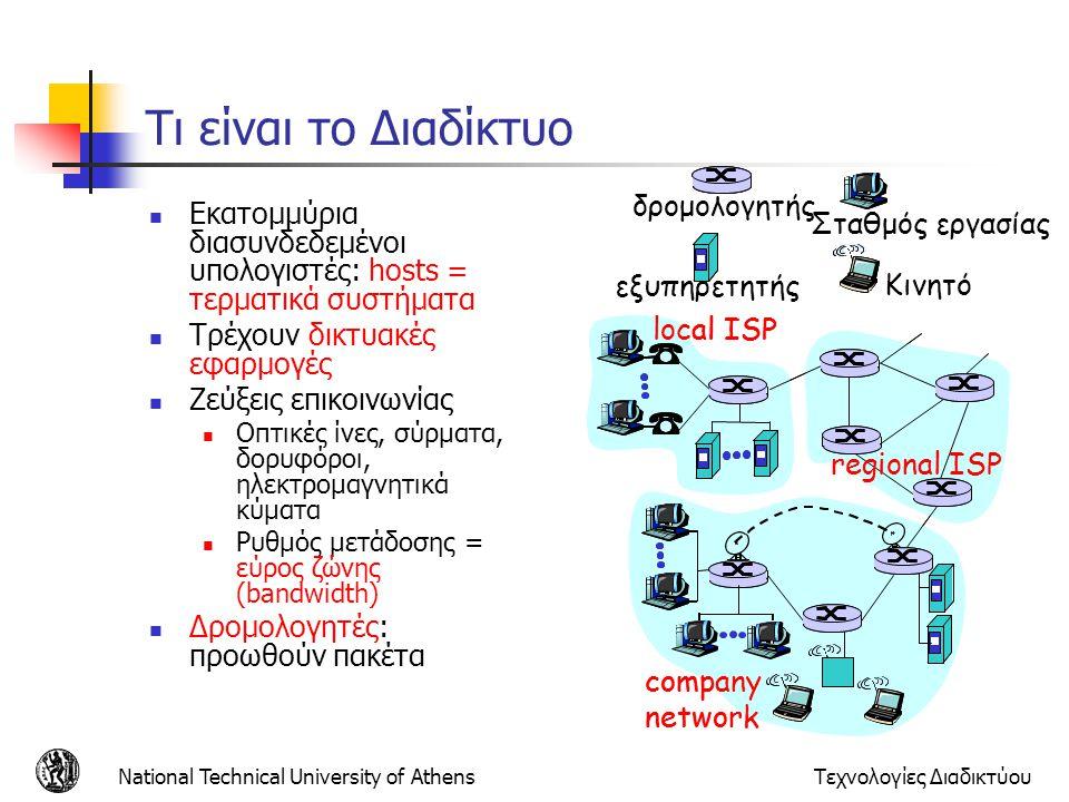 National Technical University of AthensΤεχνολογίες Διαδικτύου Τι είναι το Διαδίκτυο Εκατομμύρια διασυνδεδεμένοι υπολογιστές: hosts = τερματικά συστήμα