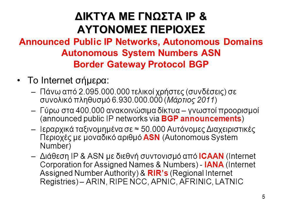 5 ΔΙΚΤΥΑ ME ΓΝΩΣΤΑ IP & ΑΥΤΟΝΟΜΕΣ ΠΕΡΙΟΧΕΣ ΔΙΚΤΥΑ ME ΓΝΩΣΤΑ IP & ΑΥΤΟΝΟΜΕΣ ΠΕΡΙΟΧΕΣ Announced Public IP Networks, Autonomous Domains Autonomous System Numbers ASN Border Gateway Protocol BGP Το Internet σήμερα: –Πάνω από 2.095.000.000 τελικοί χρήστες (συνδέσεις) σε συνολικό πληθυσμό 6.930.000.000 (Μάρτιος 2011) –Γύρω στα 400.000 ανακοινώσιμα δίκτυα – γνωστοί προορισμοί (announced public IP networks via BGP announcements) –Ιεραρχικά ταξινομημένα σε ≈ 50.000 Αυτόνομες Διαχειριστικές Περιοχές με μοναδικό αριθμό ASN (Autonomous System Number) –Διάθεση IP & ASN με διεθνή συντονισμό από ICAAN (Internet Corporation for Assigned Names & Numbers) - IANA (Internet Assigned Number Authority) & RIR's (Regional Internet Registries) – ARIN, RIPE NCC, APNIC, AFRINIC, LATNIC