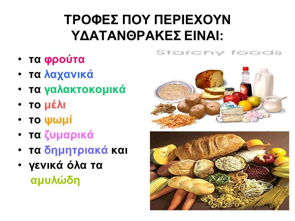 ΤΡΟΦΕΣ ΠΟΥ ΠΕΡΙΕΧΟΥΝ ΥΔΑΤΑΝΘΡΑΚΕΣ ΕΙΝΑΙ: τα φρούτα τα λαχανικά τα γαλακτοκομικά το μέλι το ψωμί τα ζυμαρικά τα δημητριακά και γενικά όλα τα αμυλώδη