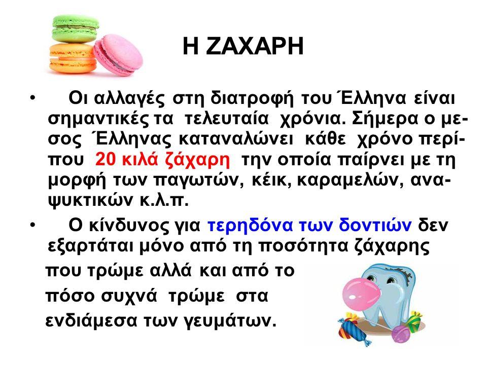 Η ΖΑΧΑΡΗ Οι αλλαγές στη διατροφή του Έλληνα είναι σημαντικές τα τελευταία χρόνια. Σήμερα ο με- σος Έλληνας καταναλώνει κάθε χρόνο περί- που 20 κιλά ζά